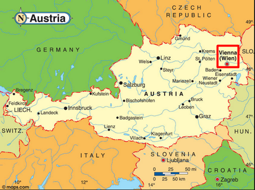 mapka Austrii